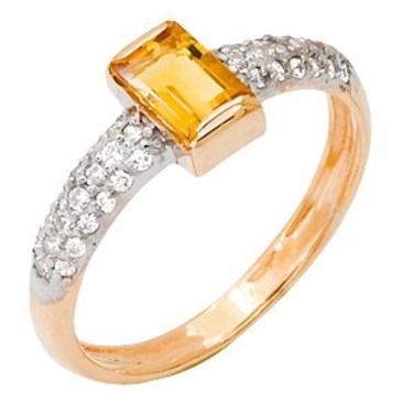 кольцо c цитрином из красного золота 11925419