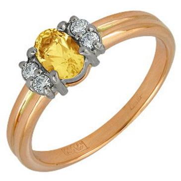 кольцо c цитрином из красного золота 12921074