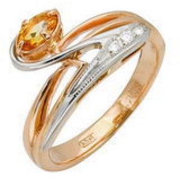 кольцо c цитрином из красного золота 12921436
