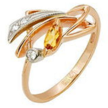 кольцо c цитрином из красного золота 1292264
