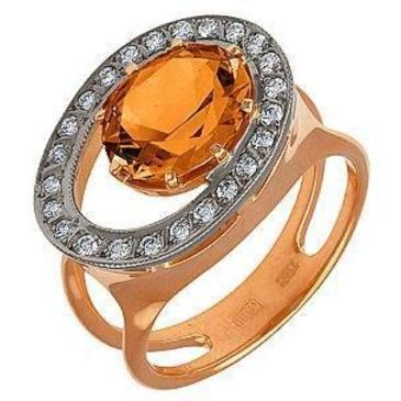 кольцо c цитрином из красного золота 12931577