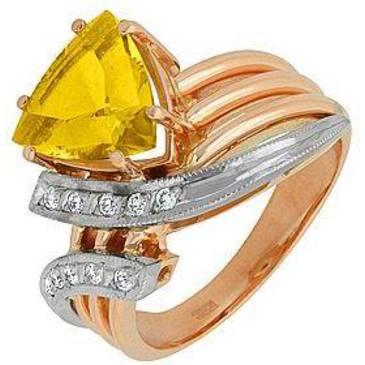 кольцо c цитрином из красного золота 12931980