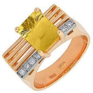 кольцо c цитрином из красного золота 12935054