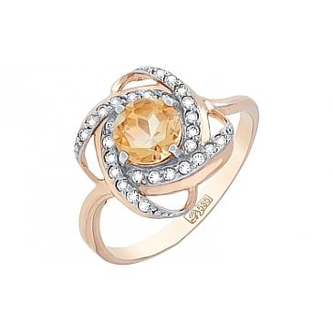 Кольцо с цитрином и фианитом из красного золота 107826