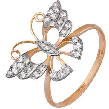 кольцо Бабочка c фианитами из красного золота 11028711