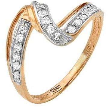 кольцо c фианитами из красного золота 11027090