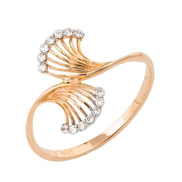 кольцо c фианитами из красного золота 11027218