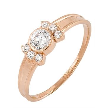 кольцо c фианитами из красного золота 11027418
