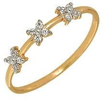 кольцо c фианитами из красного золота 1200201156