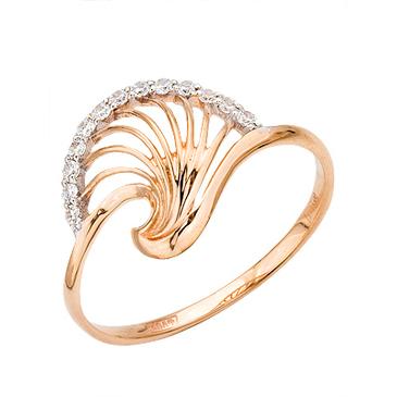 кольцо c фианитами из красного золота 11027217