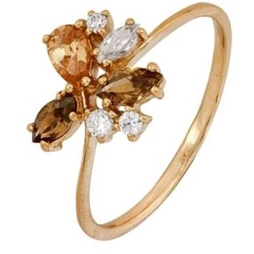 кольцо c фианитами из красного золота 1200001645-1