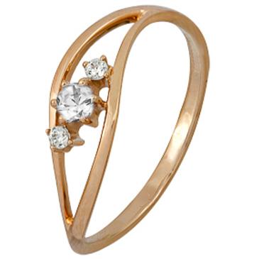 кольцо c фианитами из красного золота 1200002153