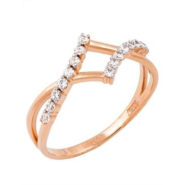 кольцо c фианитами из красного золота 11027255