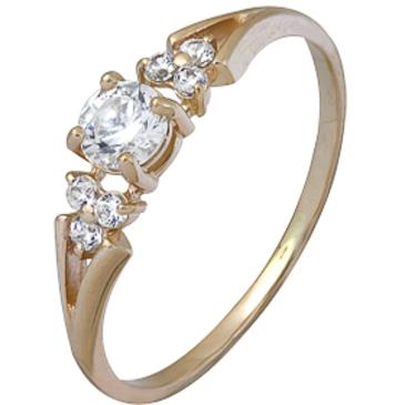 кольцо c фианитами из красного золота 1200002118