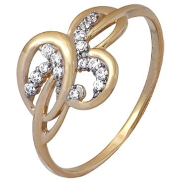 кольцо c фианитами из красного золота 1200202217