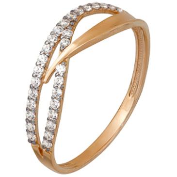 кольцо c фианитами из красного золота 1200202240Л
