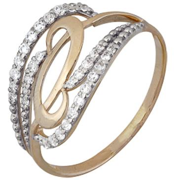 кольцо c фианитами из красного золота 1200202244Л