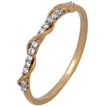 кольцо c фианитами из красного золота 1200202175Л