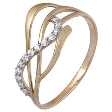 кольцо c фианитами из красного золота 1200202229