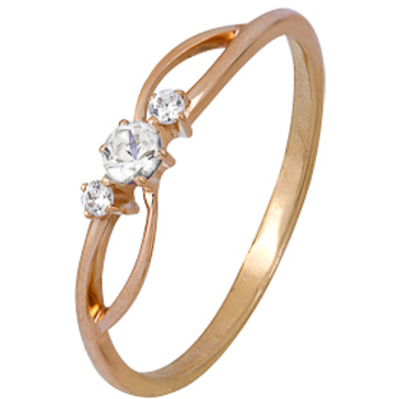 кольцо c фианитами из красного золота 1200002152