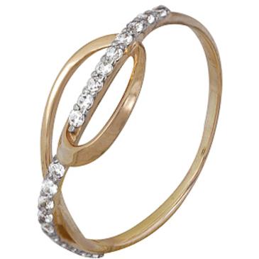 кольцо c фианитами из красного золота 1200202224Л