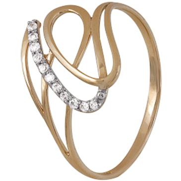 кольцо c фианитами из красного золота 1200202227