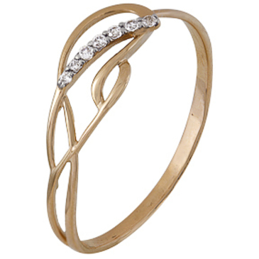 кольцо c фианитами из красного золота 1200202247