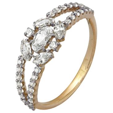кольцо c фианитами из красного золота 1200202180Л