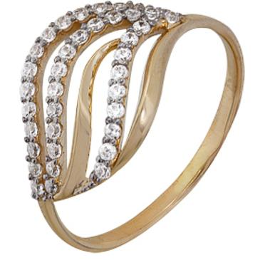 кольцо c фианитами из красного золота 1200202246Л