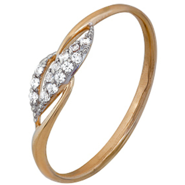 кольцо c фианитами из красного золота 1200202255