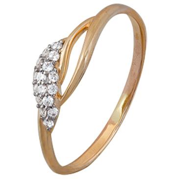кольцо c фианитами из красного золота 1200202257