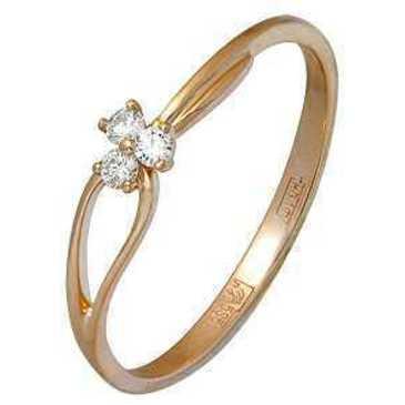 кольцо c фианитами из красного золота 11024189
