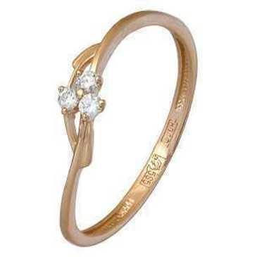 кольцо c фианитами из красного золота 11024191