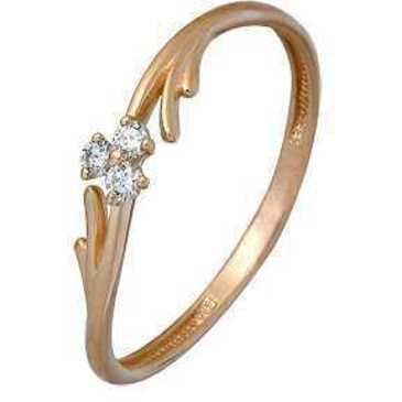 кольцо c фианитами из красного золота 11024318