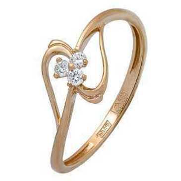 кольцо c фианитами из красного золота 11024319