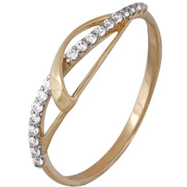 кольцо c фианитами из красного золота 1200202242Л