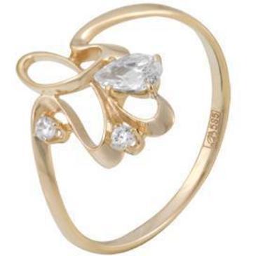 кольцо c фианитами из красного золота 11023277