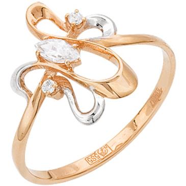 кольцо c фианитами из красного золота 11027224