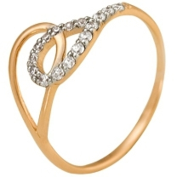 кольцо c фианитами из красного золота 11027228