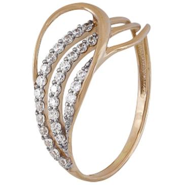 кольцо c фианитами из красного золота 1200202225Л