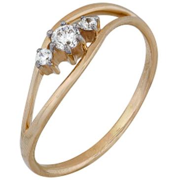кольцо c фианитами из красного золота 1200202153