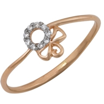 кольцо c фианитами из красного золота 1200201385