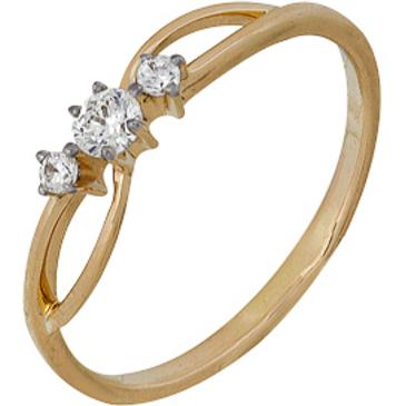 кольцо c фианитами из красного золота 1200202152