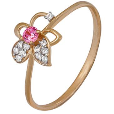 кольцо c фианитами из красного золота 1200202211