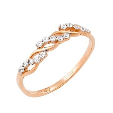 кольцо c фианитами из красного золота 11027260