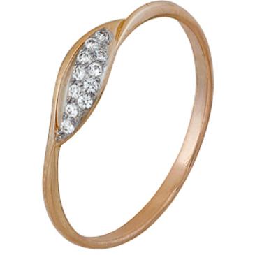 кольцо c фианитами из красного золота 1200202256