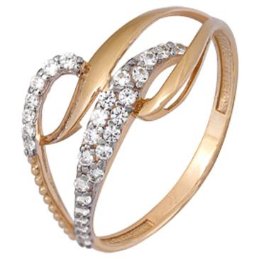 кольцо c фианитами из красного золота 1200202228Л