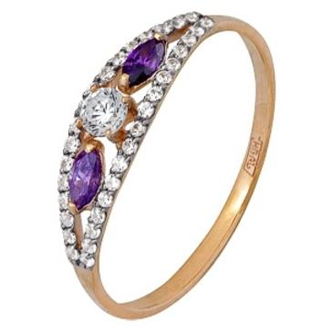кольцо c фианитами из красного золота 11024505
