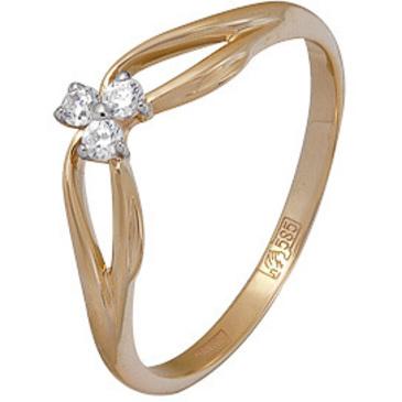 кольцо c фианитами из красного золота 11024336