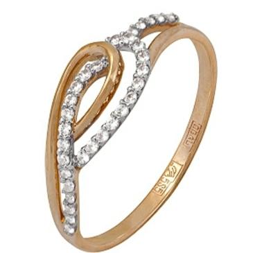 кольцо c фианитами из красного золота 11024627